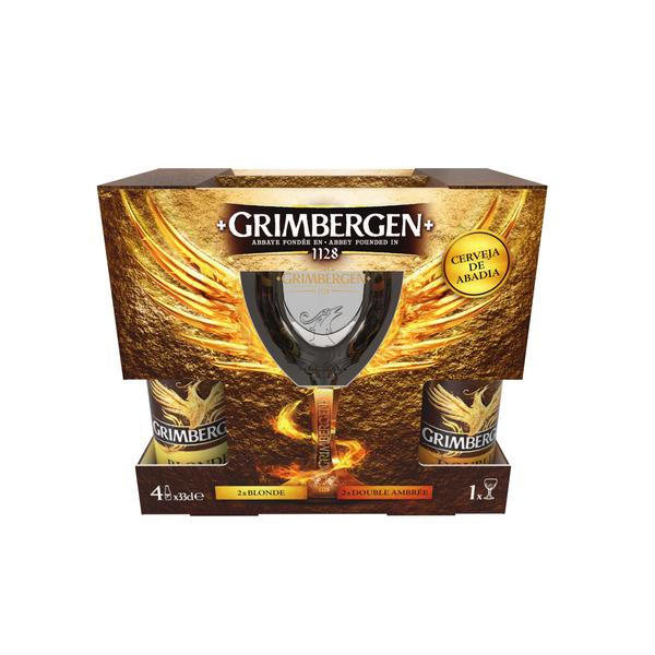 Pack Cerveja Grimbergen Blonde + Double Ambrée com Copo